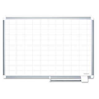 MasterVision Grid Planning Board 48x36 2x3-inch Grid White/Silver