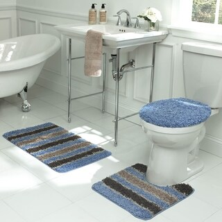 Bath Frieze Deliso Stripe Shag 3-Piece Bath Set