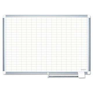 MasterVision Grid Planning Board with Accessories 1x2 inches Grid 36x24 White/Silver