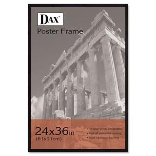 DAX Flat Face Wood Poster Frame Clear Plastic Window 24 x 36 Black Border
