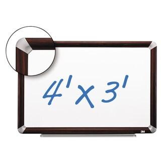 3M Porcelain Dry Erase Board 48 x 36 Mahogany Finish Frame