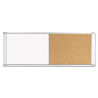 MasterVision Combo Cubicle Workstation Dry Erase/Cork Board 48x18 Silver Frame