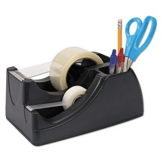 Officemate Recycled 2-in-1 Heavy Duty Tape Dispenser 1-inch and 3-inch Cores Black