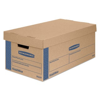Bankers Box SmoothMove Classic Large Moving Boxes 21-inch long x 17-inch wide x 17-inch high Kraft/Blue 5/Carton