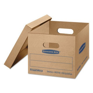 Bankers Box SmoothMove Classic Small Moving Boxes 15-inch long x 12-inch wide x 10-inch high Kraft/Blue 15/Carton