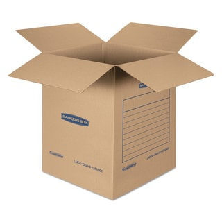 Bankers Box SmoothMove Basic Large Moving Boxes 18l x 18-inch wide x 24h Kraft/Blue 15/Carton