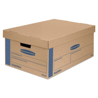 Bankers Box SmoothMove Prime Large Moving Boxes Lift Lid 24-inch long x 15-inch wide x 10-inch high Kraft/Blue 8/Carton