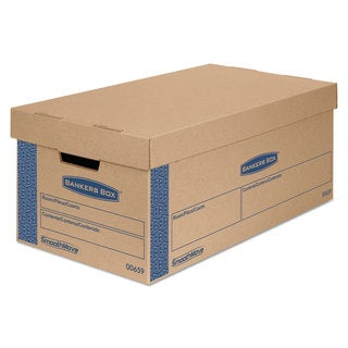 Bankers Box SmoothMove Prime Small Moving Boxes Lift Lid 24-inch long x 12-inch wide x 10-inch high Kraft/Blue 8/Carton