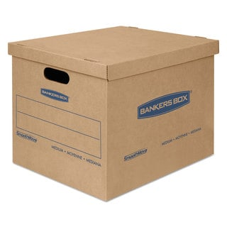 Bankers Box SmoothMove Classic Medium Moving Boxes 18-inch long x 15-inch wide x 14-inch high Kraft/Blue 8/Carton