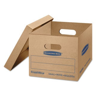 Bankers Box SmoothMove Classic Small Moving Boxes 15-inch long x 12-inch wide x 10-inch high Kraft/Blue 10/Carton
