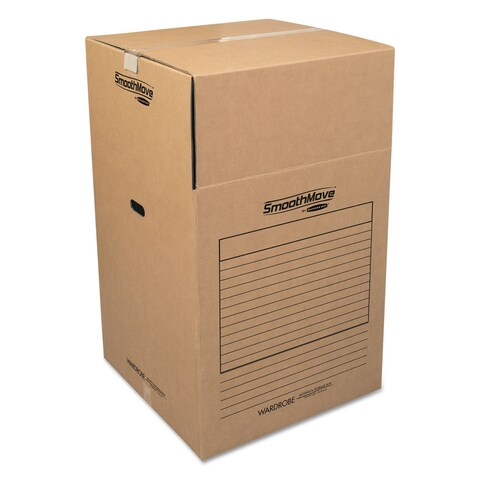 Bankers Box SmoothMove Wardrobe Boxes 24-inch long x 24-inch wide x 40-inch high Kraft/Blue 3/Carton
