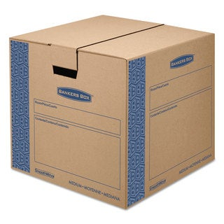 Bankers Box SmoothMove Prime Medium Moving Boxes 18-inch long x 18-inch wide x 16-inch high Kraft/Blue 8/Carton
