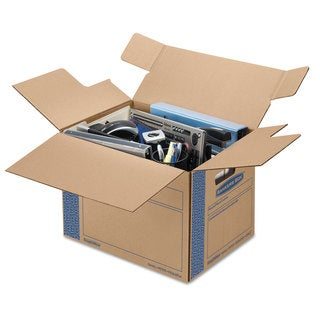 Bankers Box SmoothMove Prime Small Moving Boxes 16l x 12-inch wide x 12h Kraft/Blue 10/Carton