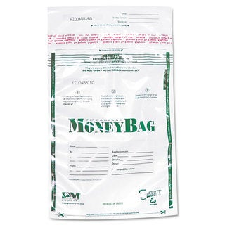 PM Company Securit Plastic Money Bags Tamper Evident 9 x 12 Clear 50/Pack