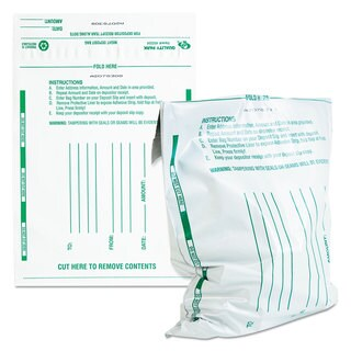 Quality Park Poly Night Deposit Bags with Tear-Off Receipt 10 x 13 Opaque 100 Bags/Pack