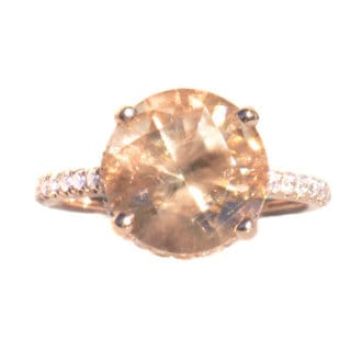 California Girl Jewelry 18k Rose Gold Oregon Sunstone and 0.34ct Diamond Ring (G, VS)