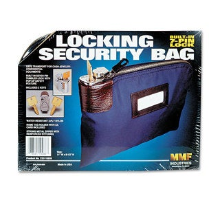 MMF Industries Seven-Pin Security/Night Deposit Bag with 2 Keys Nylon 8 1/2 x 11 Navy