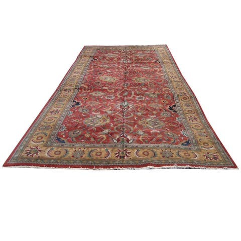 Herat Oriental Indo Hand-knotted Oushak Wool Area Rug (15'2 x 29'7) - 15'2 x 29'7