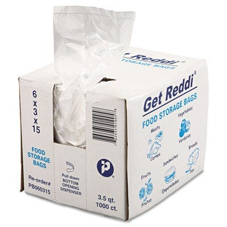 Inteplast Group Get Reddi Food & Poly Bag 6 x 3 x 15 3.5qt .68mil Clear 1000/Carton