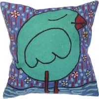 Handmade Romantic Bird Pillow (India)
