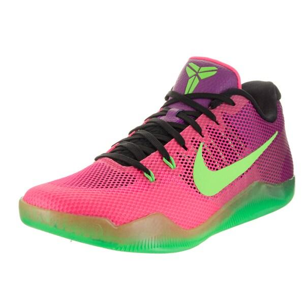 504288281e6e Shop Nike Men s Kobe XI Pink  Green Textile Basketball Shoes - Free ...