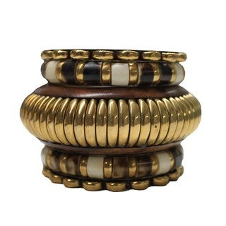 Brass and Wood 5-piece Bangle Set (India)