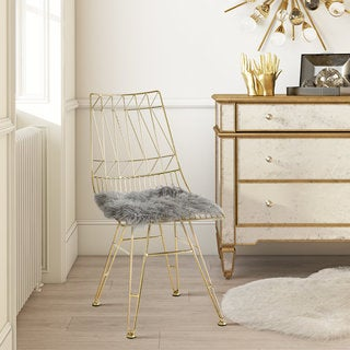 Allure Gold Steel Chair With Grey Sheepskin Seat