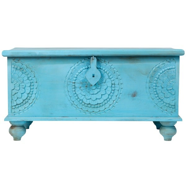 Handmade Wanderloot Leela Distressed Blue Medallion Coffee Table Trunk  (India)