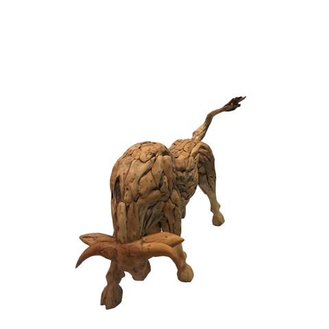 D-Art Drift Wood Bull Statue