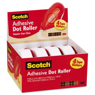 Scotch Adhesive Dot Roller Value Pack 0.3-inch x 49-feet 4/Pack