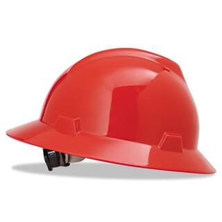 MSA V-Gard Full-Brim Hard Hats Ratchet Suspension Size 6 1/2 - 8 Red