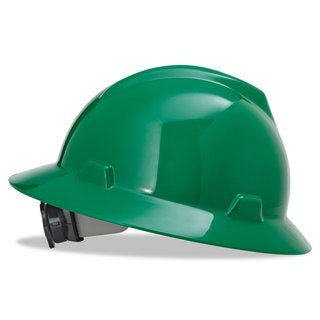 MSA V-Gard Full-Brim Hard Hats Ratchet Suspension Size 6 1/2- 8 Green