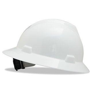 MSA V-Gard Full-Brim Hard Hats Ratchet Suspension Size 6 1/2- 8 White