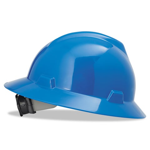 MSA V-Gard Full-Brim Hard Hats Ratchet Suspension Size 6 1/2- 8 Blue
