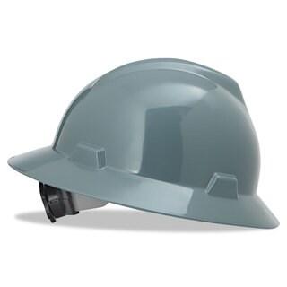 MSA V-Gard Full-Brim Hard Hats Ratchet Suspension Size 6 1/2 - 8 Grey