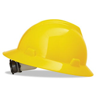 MSA V-Gard Full-Brim Hard Hats Ratchet Suspension Size 6 1/2 - 8 Yellow