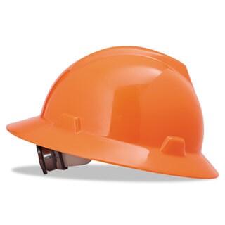MSA V-Gard Full-Brim Hard Hats Ratchet Suspension Size 6 1/2 - 8 High-Viz Orange