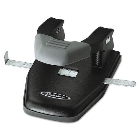 Swingline 28-Sheet Comfort Handle Steel Two-Hole Punch 1/4-inch Holes Black/Grey
