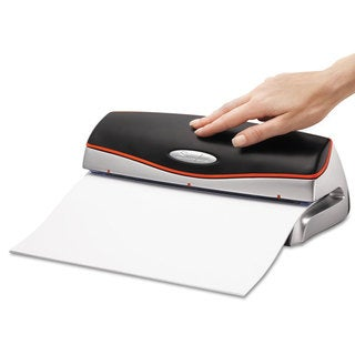 Swingline 20-Sheet Optima Electric/Battery Three-Hole Punch 9/32 inches Holes Silver/Black