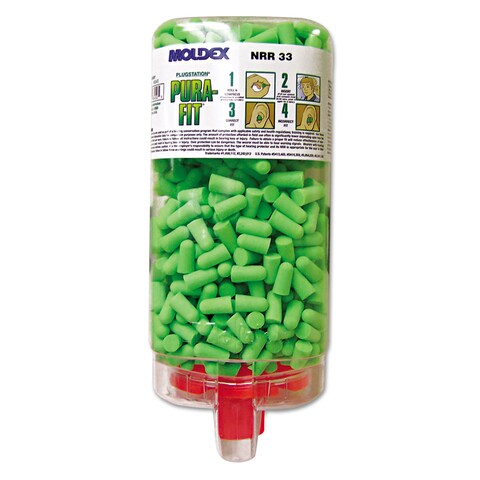 Moldex Pura-Fit PlugStation Earplug Dispenser Cordless 33NRR Bright Green 500 Pairs
