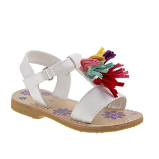 Petalia Girls White Tassel Sandals