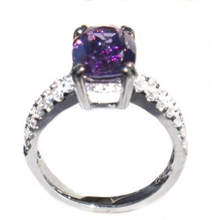 California Girl Jewelry 18k White Gold 0.7ct Diamond and Unheated Purple Sapphire Ring (G, VS)