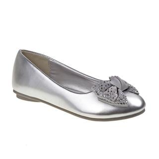 Laura Ashley Girls' Silver Ballerina Flats