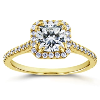 Annello By Kobelli 14k Yellow Gold 1 2 5ct TGW Cushion Moissanite And Diamond Halo Engagement Ring
