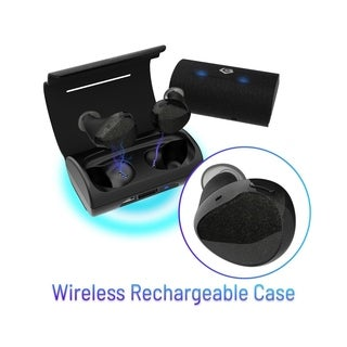CobblePro Black True Wireless Bluetooth 4.1 Earphones Headset with Microphone and Charging Case for Running Biking Workout