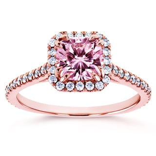 Annello by Kobelli 14k Rose Gold 1 2/5ct TGW Pink Moissanite and Natural Diamond Halo Cushion Engagement Ring