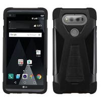 Insten Black Hard PC/ Silicone Dual Layer Hybrid Case Cover with Stand For LG V20