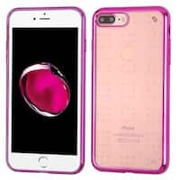 Insten Clear/ Hot Pink TPU Rubber Candy Skin Case Cover For Apple iPhone 7 Plus