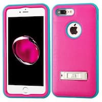 Insten Hot Pink/ Teal Hard PC/ Silicone Dual Layer Hybrid Matte Case Cover with Stand For Apple iPhone 7 Plus