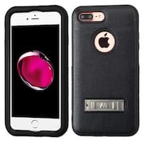 Insten Black Hard PC/ Silicone Dual Layer Hybrid Matte Case Cover with Stand For Apple iPhone 7 Plus